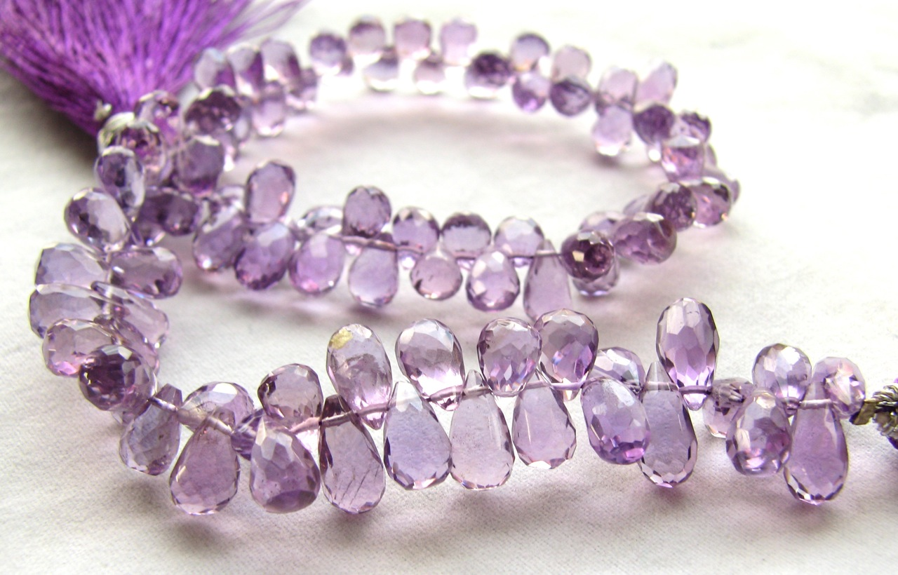 Pink Amethyst faceted tear drops